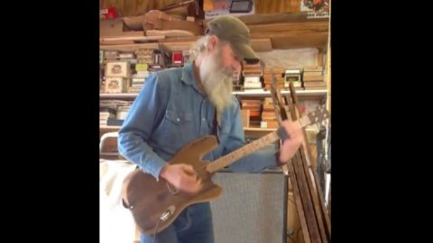 Father & Son Team Create 'The Barnacaster', A Guitar Made Completely Out Of Old Barn Wood | Country Music Videos