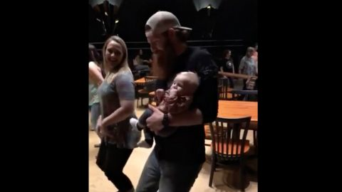 Parenting Done Right: Dad Teaches Infant Son Classic Line Dance | Country Music Videos