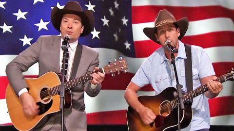 Adam Sandler & Jimmy Fallon Deliver HILARIOUS Garth Brooks Parody To Troops | Country Music Videos