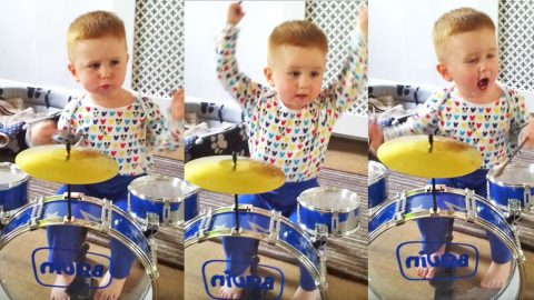 Adorable Baby Rocks Out On Drums To 'Hound Dog' | Country Music Videos