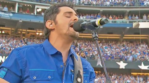 Brad Paisley Kicks Off Game 2 Of World Series With Moving National Anthem   Country Music Videos
