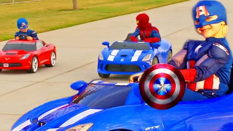 Adorable Captain America Beats Spiderman In Cute, Power Wheels Race! (Must-See!) | Country Music Videos