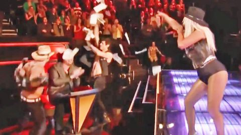 Christina Aguilera Pranks Blake Shelton With Hysterical Country Strip Tease | Country Music Videos