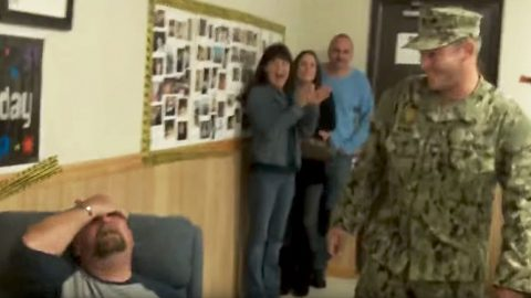 Father Stunned On 50th Birthday As Sailor Son Epically Crashes Party | Country Music Videos