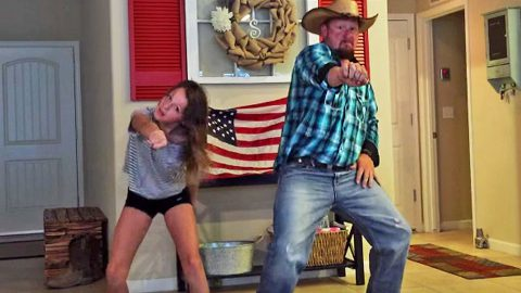 Hysterical Cowboy Dad Busts A Move With Daughter For Epic Dance Off | Country Music Videos