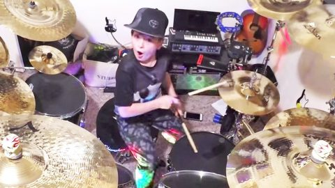 Wickedly Talented 10-Year-Old Sets Drums On Fire With Keith Urban & Carrie Underwood's 'The Fighter' | Country Music Videos