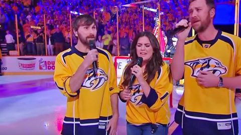Lady Antebellum Delivers Stunning A Cappella National Anthem At NHL Game   Country Music Videos