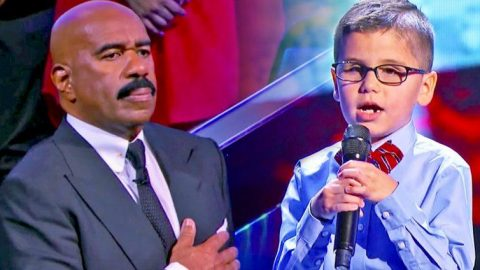 Sweet Little Boy Sings National Anthem For An Emotional Steve Harvey | Country Music Videos