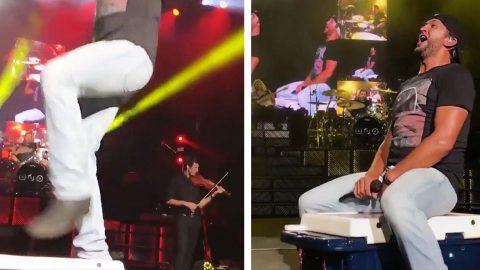 Luke Bryan Dodges Nasty Slip On Stage Prop | Country Music Videos