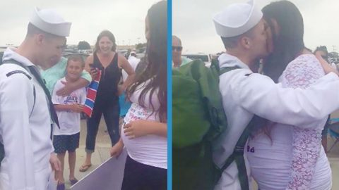 Navy Wife Surprises Husband Returning From Deployment With Emotional Pregnancy Reveal | Country Music Videos