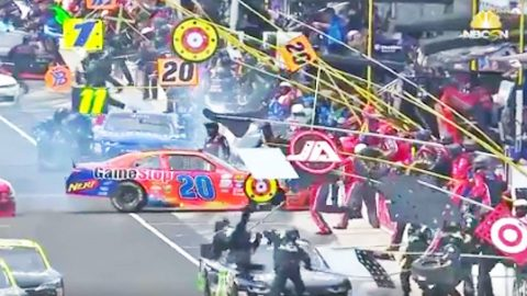 NASCAR Driver Hits Crew Members During Horrifying Pit Stop | Country Music Videos