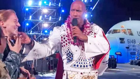 'The Rock' Ignites Military Concert With Fiery Performance Of' 'Jailhouse Rock' | Country Music Videos
