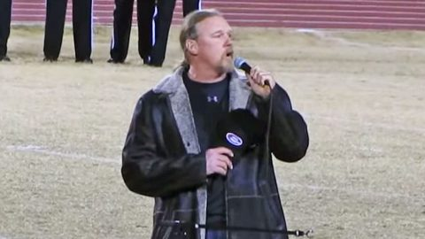 Small Town Meets Big Star When Trace Adkins Sings National Anthem At High School Football Playoffs | Country Music Videos