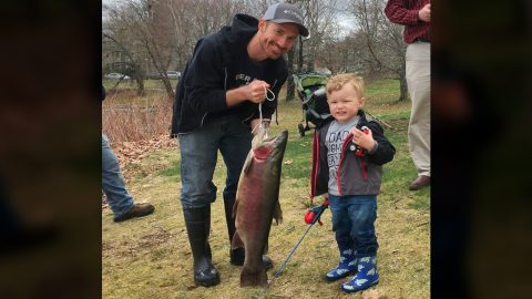 Toddler Catches Huge Rainbow Trout Using Toy Spiderman Fishing Rod | Country Music Videos
