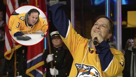 Pop Superstar Falls On His Face After Singing Anthem At Nashville Preds Game | Country Music Videos