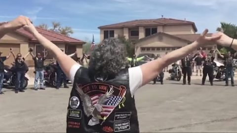 """Bikers Go A Cappella With """"God Bless The USA"""" Tribute To WWII Vet 