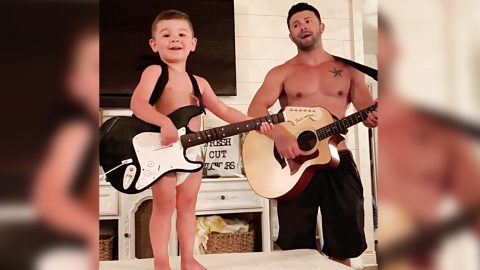 Shirtless Dad & Toddler Son Put On Home Concert With Luke Combs Hit | Country Music Videos