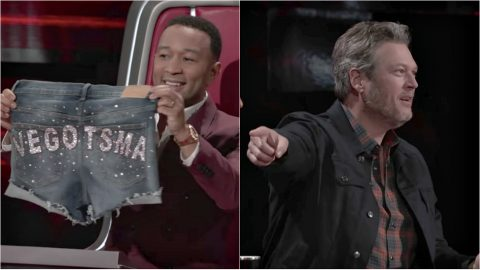 """Blake Shelton Crowns John Legend PEOPLE's """"Sexiest Man Alive"""" With Bedazzled Booty Jorts 