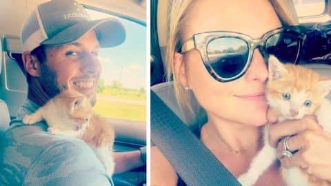 Miranda Lambert & Husband Brendan Rescue Kitten On Highway In Texas | Country Music Videos
