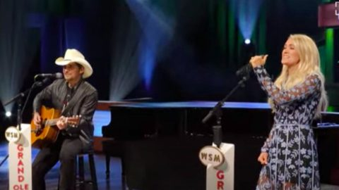 "Brad & Carrie Sing Conway & Loretta's ""Louisiana Woman, Mississippi Man"" On Opry Stage 