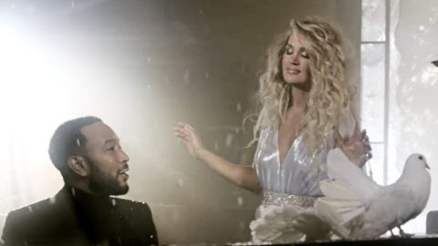 """Carrie Underwood & John Legend Join For Wintery """"Hallelujah"""" Music Video 