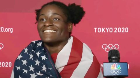"""Gold Medal Wrestler Declares, """"I Love Representing The US!"""" In Post-Match Interview 